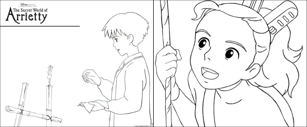 Disney The Secret World of Arrietty activity and coloring sheets