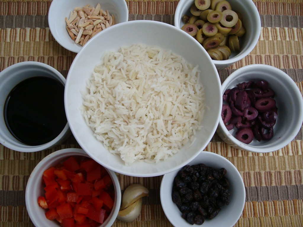ingredients for simple balsamic olive and pepper rice pilaf recipe