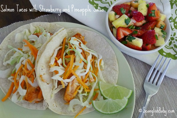 Salmon Tacos with Strawberry and Pineapple Salsa recipe