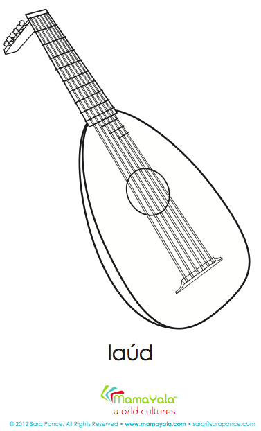 musical instrument laud coloring page