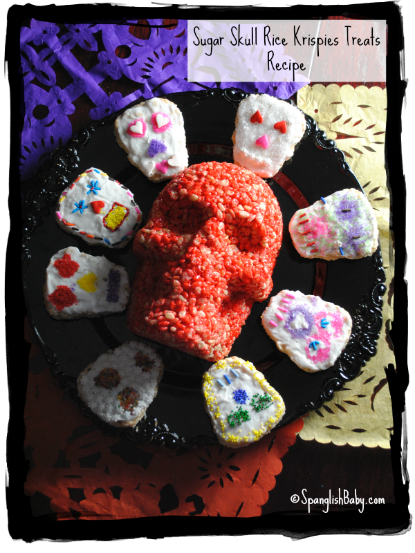 day of the dead rice crispy skulls recipe, dia de los muertos