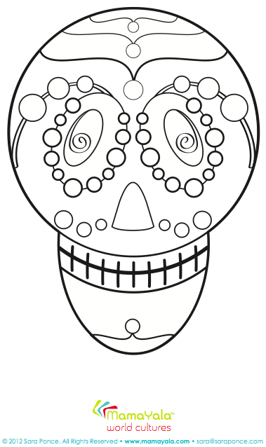 day of the dead Calaca coloring page