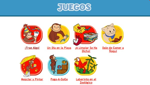 Curious George games in spanish