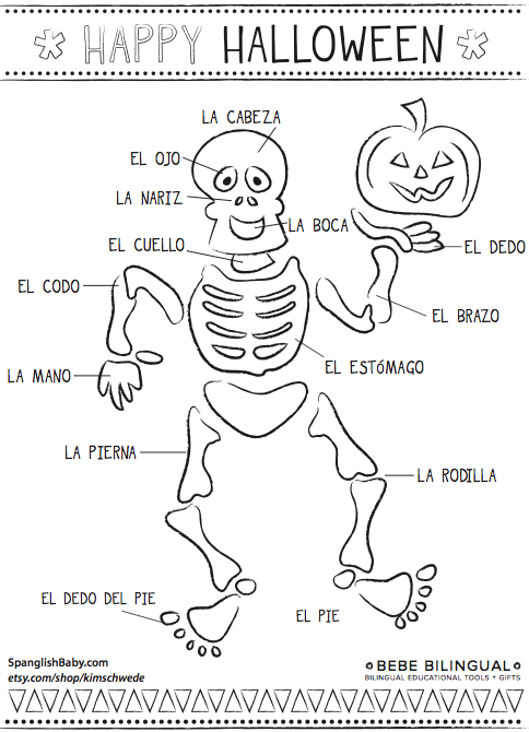 Bebe Bilingual Spanish Halloween Printable