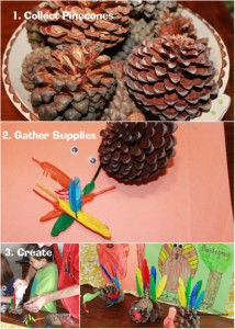 Thanksgiving craft- Pine Cone Turkey