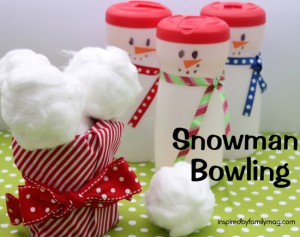 Christmas Kid activity- Snowman Bowling