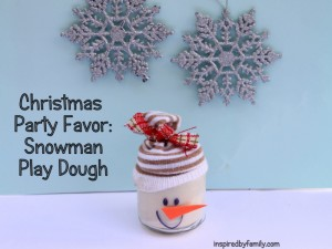 Christmas Party favor snowman play dough
