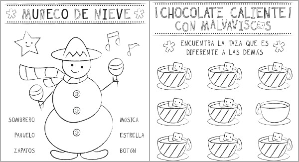 Christmas Activity Sheets in Spanish {Printable} |SpanglishBaby