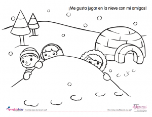 free snow day coloring sheet in spanish