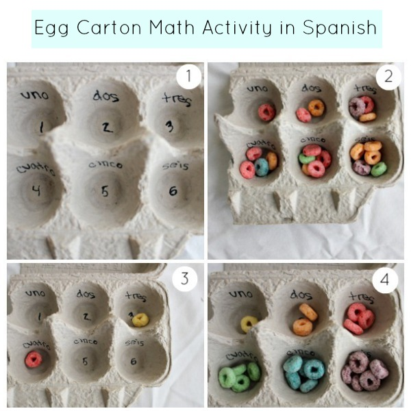 Busy bag egg carton math activity in spanish