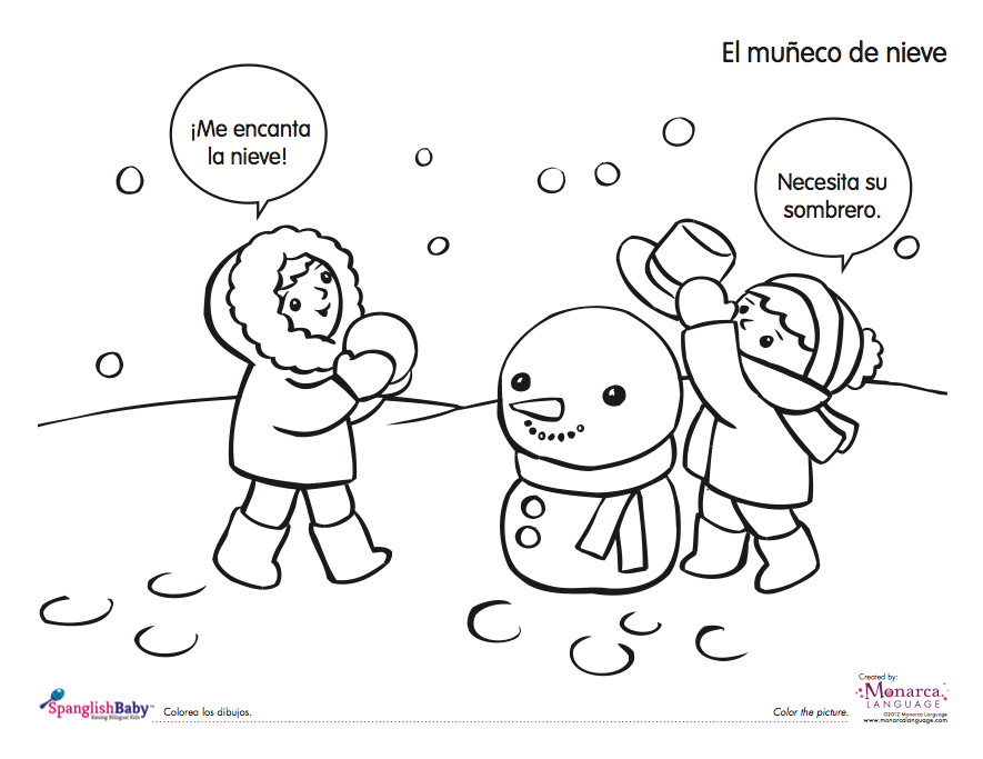 free snowman spanish printable for kids