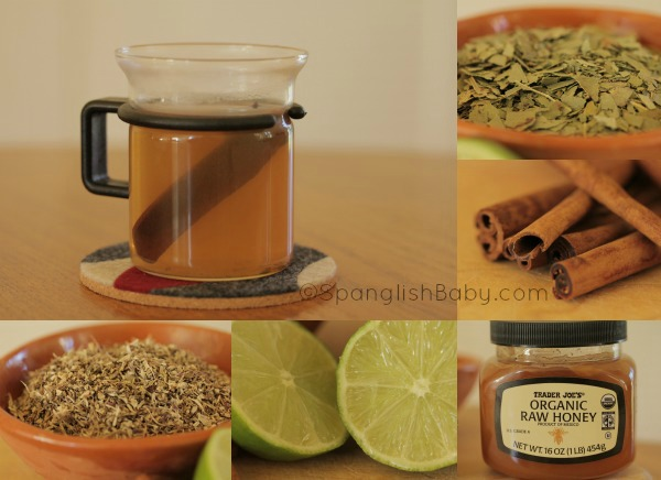 Soothing Eucalyptus, Cinnamon, honey, lime, echinacea tea for a cold