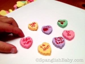 Conversation Hearts in Spanish for San Valentín