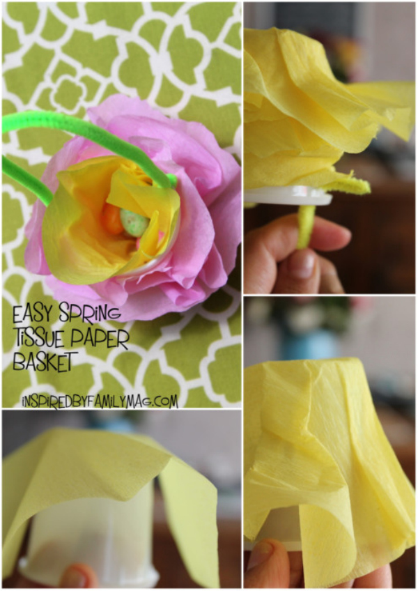 Easy spring craft: tissue paper basket - SpanglishBaby.com
