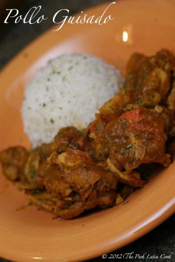puerto rican braised stewed chicken recipe - theposhlatincook.com