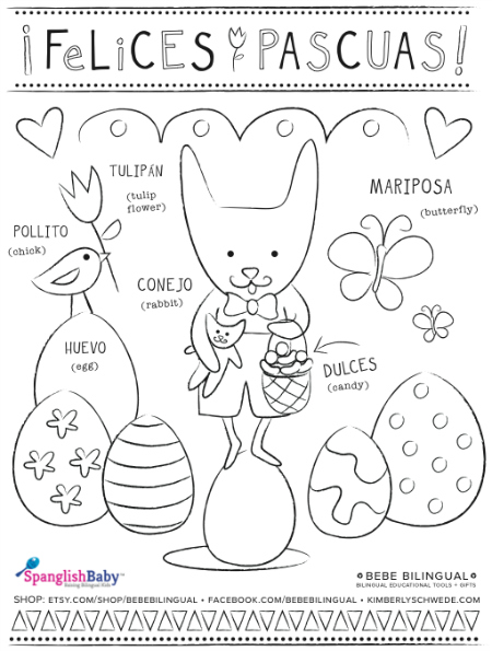Felicies Pascuas coloring sheet in Spanish - SpanglishBaby.com