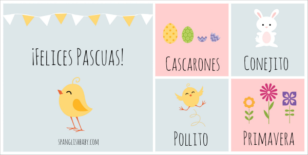 Easter Activity Cards in Spanish by SpanglishBaby.com