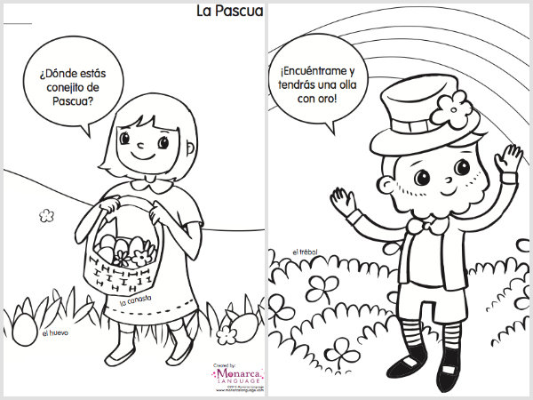 Spring Coloring Pages in Spanish {Printable} spanglishbaby.com