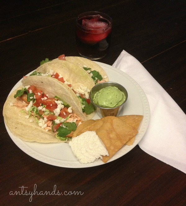 Salmon Tacos with avocado and cilantro cream  recipe - antsyhands.com
