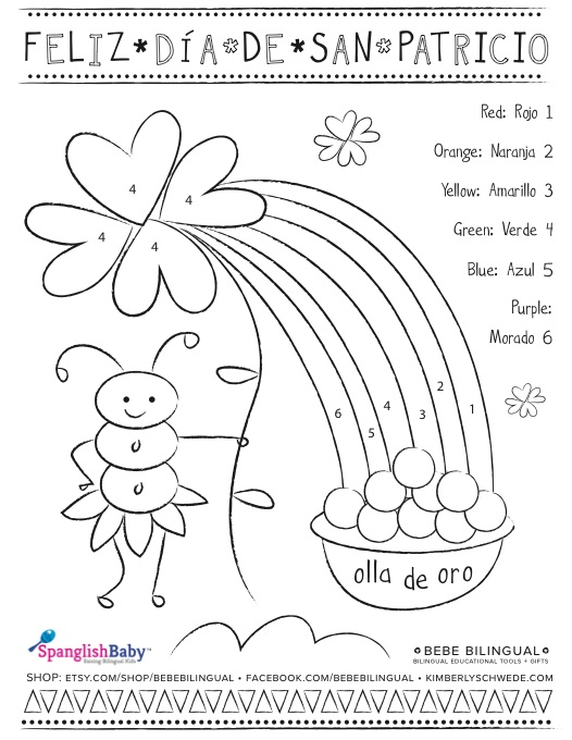 San Patricio Spanish Activity Sheets - SpanglishBaby.com