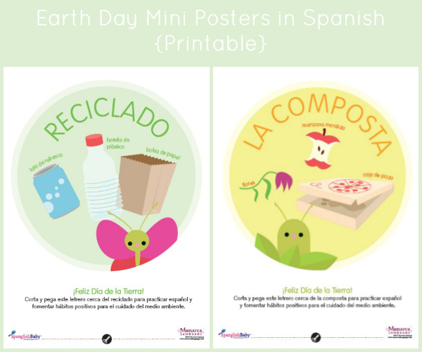 Earth day mini posters in spanish - spanglishbaby.com