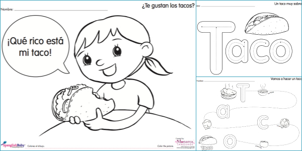 taco activity sheets in spanish spanglishbabycom