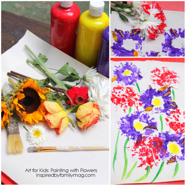Kids Art Activity: Painting with Flowers - SpanglishBaby.com