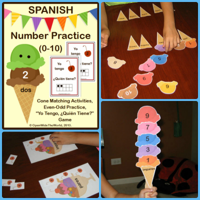 Spanish Numbers Ice Cream Cones