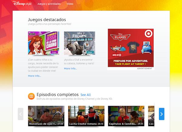 Disney ¡Aja! español spanish games