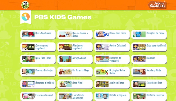 PBS KIDS games in Spanish en español