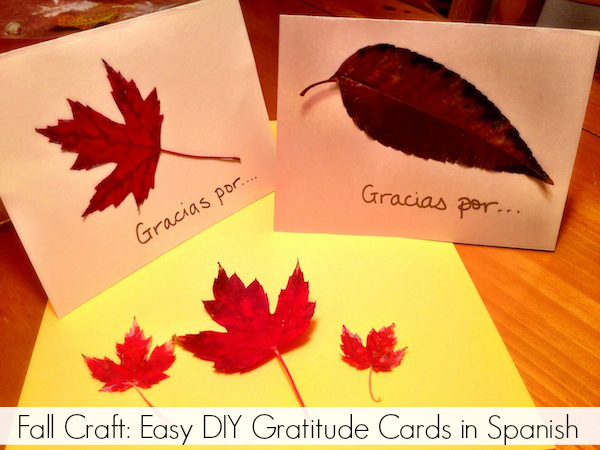 Fall Craft Easy DIY Gratitude Cards in Spanish