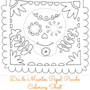Papel Picado Calavera Coloring Sheet