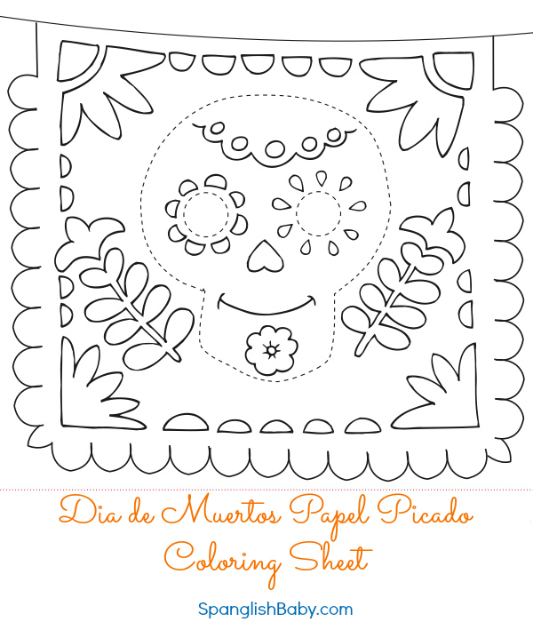 Papel picado template printable for Papel picado template for kids