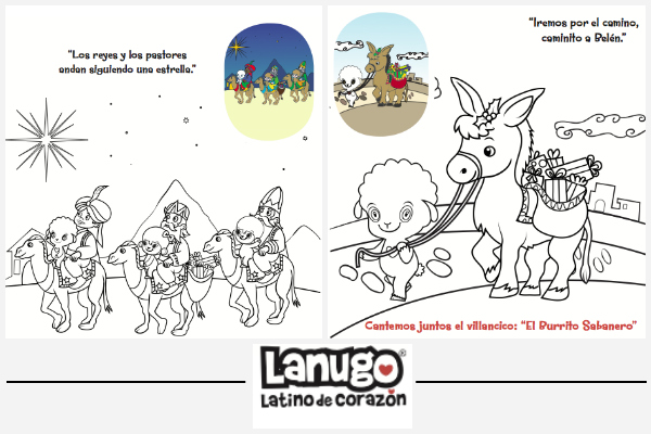 Christmas coloring book in Spanish/Libro de colorear para la navidad